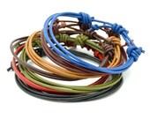 Mens unisex leather multi strand adjustable bracelets - choose your colour