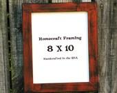 8X10 Picture Frame Distressed Orange Black Shabby Chic Wedding Photo Frame