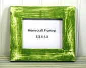 3.5X4.5 Picture Frame Distressed Wedding Frame Wood Frame Green White Shabby Chic Rustic