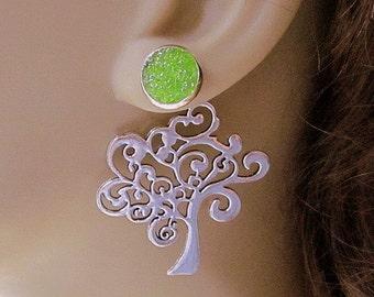 Green Tree Earrings Shamrock Earrings Front Back Earrings 3 Ways Green Druzy Stud Earrings Reverse Art Nouveau Tree Jewelry Stain Glass
