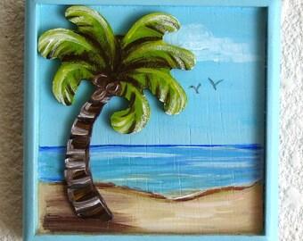 Palm Tree Beach Scene Plaque