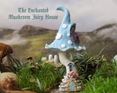 The Enchanted Mushroom Fairy House - Spotted Robin's Egg Blue Capped Woodland Fae House with Arched Fairy Door and Flowering Window Boxes