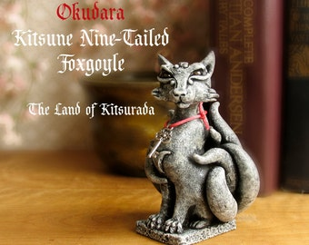 Okudara the Kitsune - Nine Tailed Foxgoyle - Gargoyle Fox Figurine - Faceted Crystal Eyes - Handmade - Hand-Painted Polymer Clay Sculpture