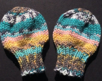 Newborn Mittens - Hand Knit - Infant Mittens - THUMBLESS Mittens - Baby Mittens - Machine Washable -  Yellow, Turquoise, Pink, White, Grey