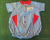 80s Ahoy Matee Blue and White Striped Summer Fun Romper, Baby Size 12 months