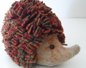 Felted Doorstop Hedgehog - HARRIS the Hedgehog with rag rug prickles - LARGE