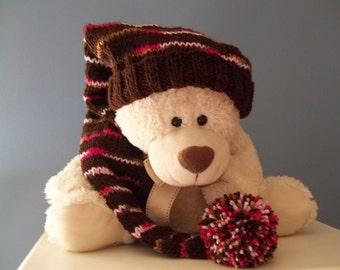 Long  Adult, Kids Stocking Cap, Sweet Mocha,  Brown, Cream Pink 28 inch Long Floppy Hat, KNIT TO ORDER