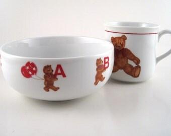 vintage childs bowl and mug - Curzon teddy bear china - childs china set - teddy bear mug - teddy bear bowl - baby bowl - alphabet bear