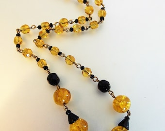 Vintage 1930's Art Deco Black and Gold Art Glass Bead Necklace