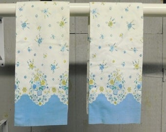 Feedsack pillow cases pair/Vintage pillow cases/Blue and white print pillow cases
