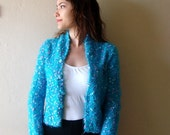 Turquoise Womens Hand Knit Sweater, Womens  Knit Jacket Sweater Cardigan size small