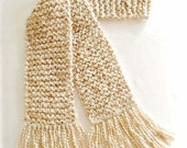 Cream Scarf, Chunky Knit Long Scarf, Winter Scarf for Men or Women, Beige Knit Scarf