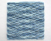 Knit Cotton Dishcloth Knitted Washcloth Blue Kitchen Decor