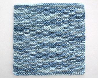 Cotton Knit Dishcloth Washcloth Blue Kitchen Decor