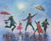 Singing in the Rain Super Hero Kids Art Print, happy family dad, three brothers wall decor super hero paintings, Vickie Wade