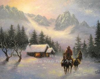 Snowy Mountain Cabin Cowboys Art Print cowboys snow paintings, western wall art paintings, gray, winter cowboys, horses, Vickie Wade art