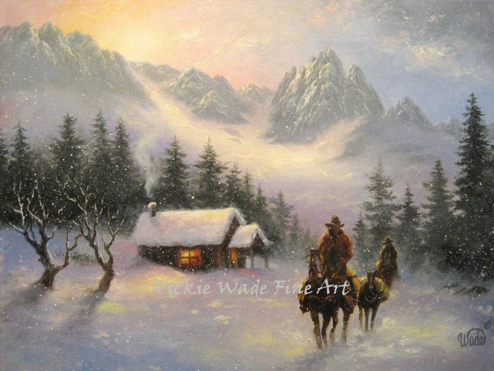 Snowy Mountain Cabin Cowboys Art Print Cowboys Snow Paintings