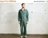SALE . Vintage Men's Work Jumpsuit . Overalls Forest Green 1980s Garage Car Mechanic OVERALLS 80s Full Cover Jumpsuit Outerwear 90s . Large
