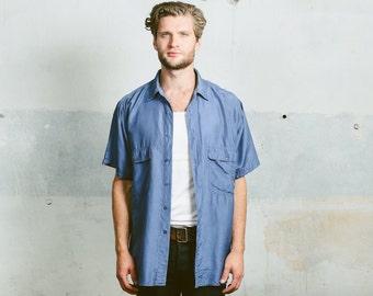 Men's Washed SILK SHIRT . Blue Shirt 90s Oversized Skater Fit Vintage 1990s Short Sleeve Loose Fit Summer Minimalist Shirt . size Large