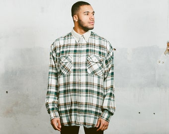 Vintage 90s Shirt . Mens PLAID OVERSHIRT with Corduroy Collar Checkered Green White Wool Thick Lumberjack Jacket Unisex 1990s Grunge . sz XL