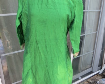 vintage  antique  Asian silk green  dress with   gilt Gold metal thread and silver  Embroidery trim