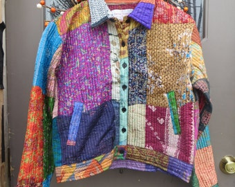 vintage  indie  SACRED THREADS boho    Patchwork JACKET  Chinese Silk quilted   sz med-large  new w tag