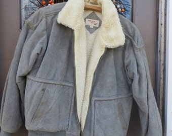 1970's Fox Collection Mens GREY SUEDE Leather Bomber  Jacket sz large