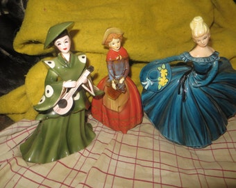 1940-1950  lot of       3 lady figurines