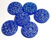 Peacock Lustre Blue Glass Vintage Buttons 18mm Matching Set 6 Sewing Buttons with holes