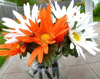 Flower Pen Set of 12 White and Orange Cosmo Daises Bridal Shower Wedding Summer Fall