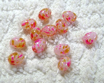 Speckled Glass Barrel Beads - (9mmx6mmx6mm) - (12 Pcs) - B-1759