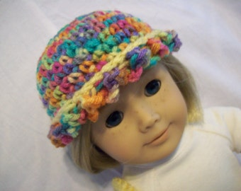 Retro Crochet hat and bag for American Girl and similar 18 inch dolls pastels and creamy yellow