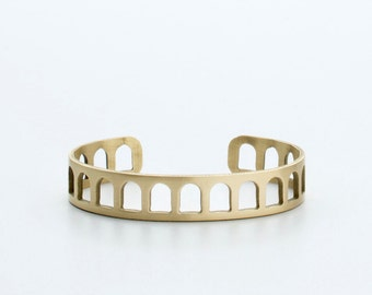 SLIM COLOSSEUM CUFF - solid brass - slender cuff - handmade in Portland Oregon