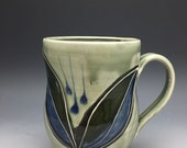 Mug, Coffee Cup, Tea, Gray, Blue, Green, Black, Leaves, Flower, Porcelain, Pottery, Handmade