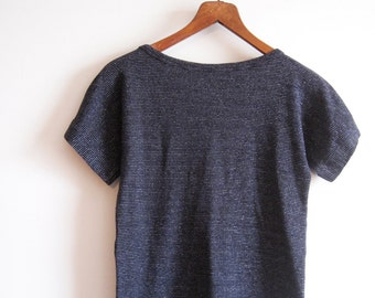 70s Black Metallic Knit Top Small, Retro Metallic Stripe Knit Top, SALE