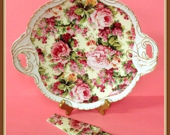 Elegant Chintz Cake Platter, Knife, Fine Porcelain, Pink, Red, Roses, Chintz, Scalloped Gold Trim, Vintage