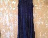 vintage.  Blue and Black Rayon Flowy Dress // Vintage Worn Tie Dye Artist Dress / Free Size
