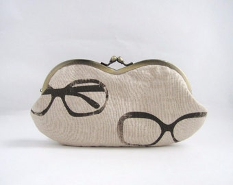 Sunglasses Case/ Frame Clutch Purse -glasses on beige linen