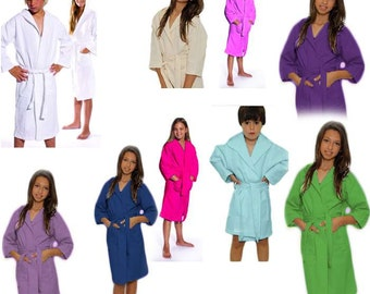 Kids Robe Monogram Robe Hooded Robe Personalized Boys Robe Girls Robe All Cotton Robe Monogram Childs Robe Custom Embroidered