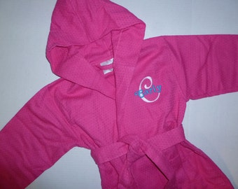 KIDS ROBE Monogram Robe Hooded Robe Personalized Robe Waffle Weave Robe All Cotton Robe Monogram Childs Robe Custom Embroidered