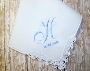 SOMETHING BLUE Personalized MONOGRAM Wedding Handkerchief Custom Wedding Embroidered Hankerchiefs
