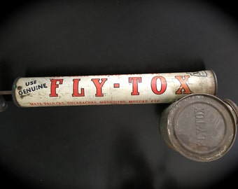 ReDuCeD! Vintage Spanish FLY-TOX Bug Insect Sprayer Pump Canister Tube DDT Retro Cucarachas Coachroaches