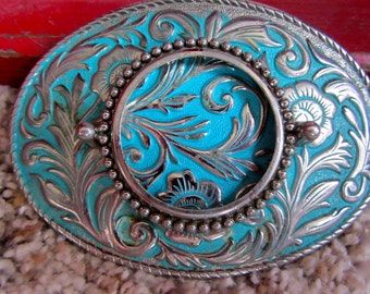 REDUCED! Silver with Aqua Turquoise Background Painted OVAL Belt Buckle Scallopped Edging Retro Vintage 1970s Insert Stone or Picture