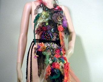 EXTRAVAGANT BODICE/NECKPIECE - Wearable Fiber Art, Freeform Crocheted, Richly Boho Tattered, Beaded & Embroidered