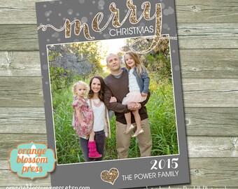 Glitter Christmas Card, Photo Christmas Holiday Card, Printable Christmas Card, Modern Holiday Card