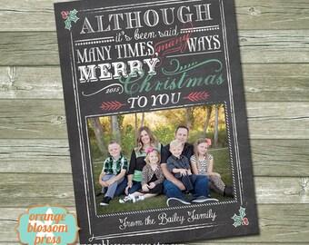 Chalkboard Christmas, Photo Christmas Holiday Card, Personalized Christmas Card, Christmas Song, Subway Art Christmas, Costco Size Option