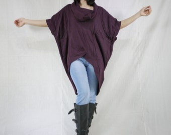 Chic Modern Oversize Short Front Long Back Plum Cotton Jersey Women Tunic Tops Size 2 To Size 14