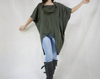 Chic Modern Oversize Short Front Long Back Dusty Army Green Cotton Jersey Women Tunic Tops Size 2 To Size 14