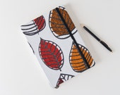 SALE! Autumn Leaves Journal. Unlined Notebook. Writing Journal. Red Orange and Brown Leaves. Fabric Journal.