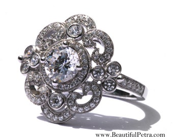 DUCHESS - Platinum Art Deco setting - Diamond Engagement Ring or Right Hand ring SEMI-MOUNT- Weddings- Luxury- Brides - BP0011